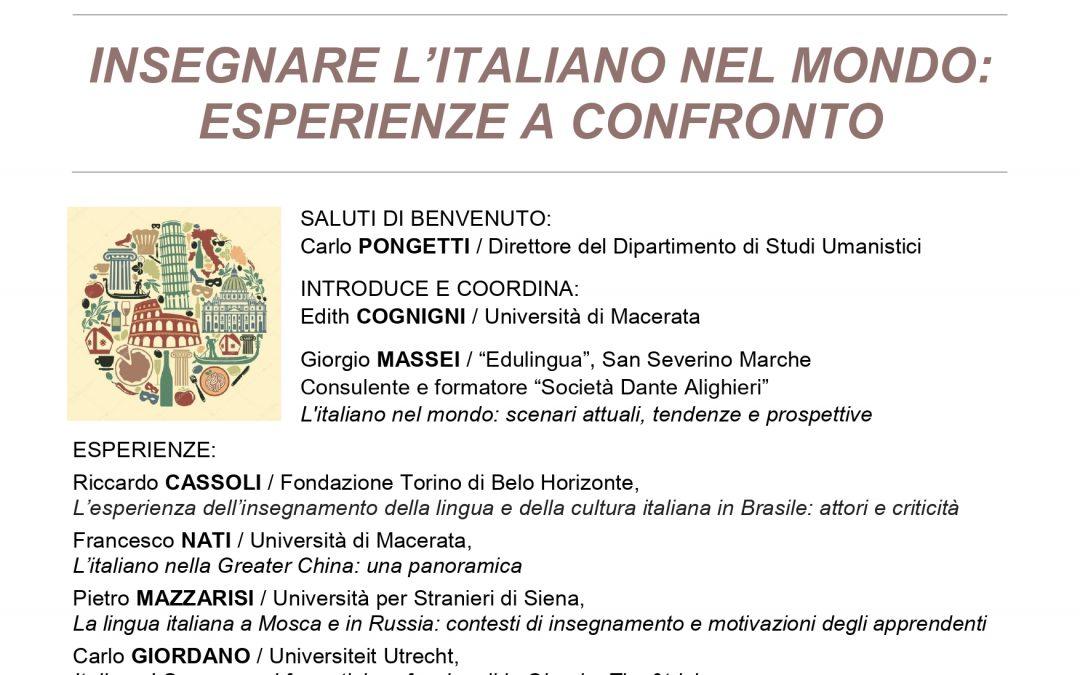 INSEGNARE L'ITALIANO NEL MONDO: esperienze a confronto